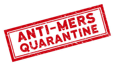 Anti-Mers Quarantine rectangular framed stamp seal. Red vector rectangle scratched seal with Anti-Mers Quarantine phrase inside rectangle double border.