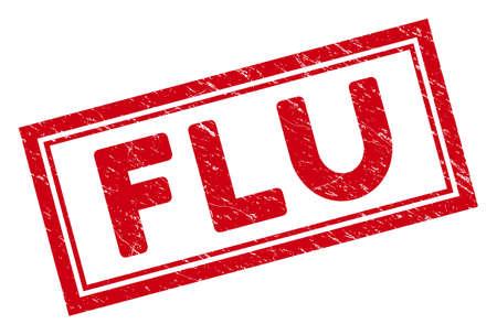 Grippe Rechteck gerahmtes Stempelsiegel. Rotes Vektorrechteck-Notsiegel mit Grippephrase innerhalb des Rechtecks doppelter Grenze. Entwickelt für Gummiimitate mit Distressed Rubber Oberfläche.