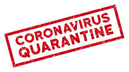 Coronavirus Quarantine rectangular framed seal. Red vector rectangular grunge seal with Coronavirus Quarantine text inside rectangular border. Useful for overlays with corroded rubber texture.