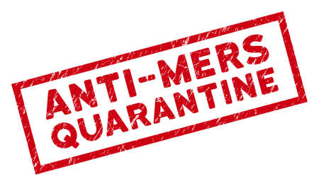 Anti-Mers Quarantine rectangular framed seal. Red vector rectangle scratched seal stamp with Anti-Mers Quarantine phrase inside rectangle frame. Useful for overlays with scratched rubber style. Illustration