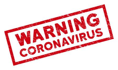 Warning Coronavirus rectangular framed stamp seal. Red vector rectangle distress seal stamp with Warning Coronavirus title inside rectangle contour.