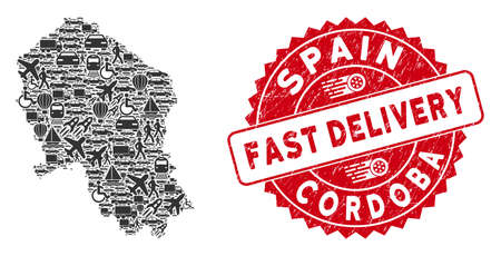 Delivery collage Cordoba Spanish Province map and distressed stamp watermark with FAST DELIVERY message. Cordoba Spanish Province map collage formed with gray randomized lorry elements. Illustration