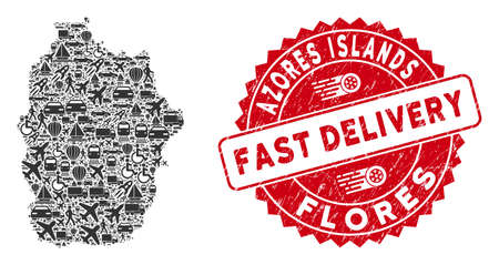 Delivery mosaic Flores Island of Azores map and distressed stamp seal with FAST DELIVERY badge. Flores Island of Azores map collage composed with gray random shipment elements. Illustration