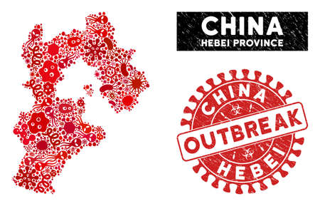 Microbe collage Hebei Province map and red distressed stamp seal with OUTBREAK caption. Hebei Province map collage created with scattered microbe items. Vetores