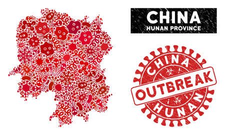 Pathogen collage Hunan Province map and red corroded stamp seal with OUTBREAK phrase. Hunan Province map collage constructed with scattered viral symbols.