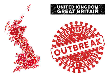 Fever collage Great Britain map and red corroded stamp seal with OUTBREAK phrase. Great Britain map collage designed with scattered viral items. Red rounded OUTBREAK seal stamp with grunge texture. Vectores