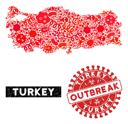 Outbreak collage Turkey map and red grunge stamp watermark with OUTBREAK message. Turkey map collage constructed with scattered microbe cell icons. Red round OUTBREAK watermark with distress texture.