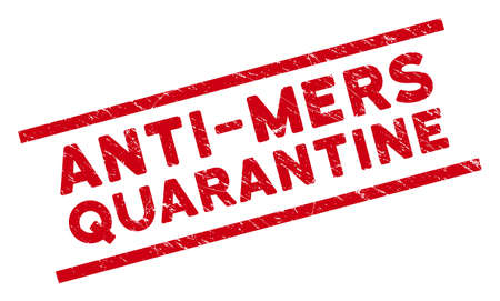 Anti-Mers Quarantine seal stamp. Red vector scratched seal stamp with Anti-Mers Quarantine title between parallel lines. Designed for watermarks with scratched rubber surface.