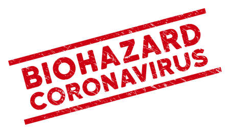 Biohazard Coronavirus seal stamp. Red vector distress seal with Biohazard Coronavirus text between parallel lines. Designed for rubber imitations with grunge rubber texture.