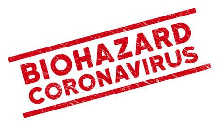 Biohazard Coronavirus Siegelstempel. Rotes Vektor-Notsiegel mit Biohazard Coronavirus-Text zwischen parallelen Linien. Entwickelt für Gummiimitationen mit Grunge-Gummi-Textur.