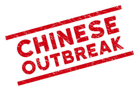Chinese Outbreak stamp seal. Red vector textured seal stamp with Chinese Outbreak message between parallel lines. Designed for overlays with distress rubber style. Ilustração