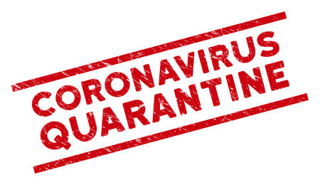 Coronavirus Quarantine stamp seal. Red vector grunge seal stamp with Coronavirus Quarantine phrase between parallel lines. Designed for rubber imitations with scratched rubber surface.