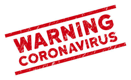 Warning Coronavirus seal stamp. Red vector textured seal stamp with Warning Coronavirus phrase between parallel lines. Designed for imprints with unclean rubber texture.