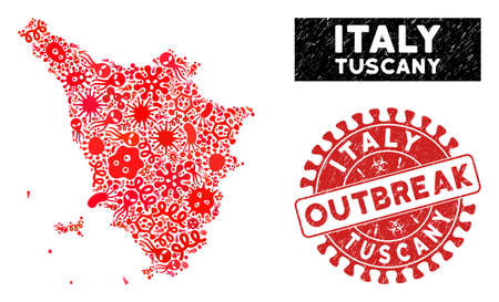 Viral collage Tuscany region map and red distressed stamp seal with OUTBREAK badge. Tuscany region map collage created with randomized flu icons.