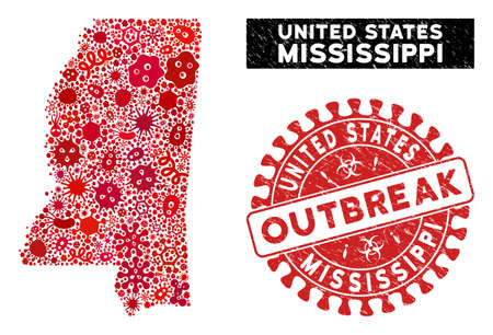 Flu collage Mississippi State map and red distressed stamp watermark with OUTBREAK message. Mississippi State map collage composed with random flu icons.