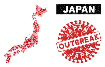 Epidemic collage Japan map and red rubber stamp seal with OUTBREAK badge. Japan map collage designed with scattered infection icons. Red round OUTBREAK seal stamp with grunge texture. Ilustração