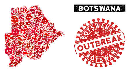 Infection mosaic Botswana map and red distressed stamp seal with OUTBREAK phrase. Botswana map collage created with randomized infectious icons. Red round OUTBREAK seal stamp with grunge texture.