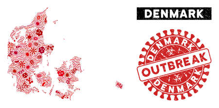 Outbreak collage Denmark map and red grunge stamp seal with OUTBREAK message. Denmark map collage designed with randomized contagious symbols. Red rounded OUTBREAK stamp with grunge texture.