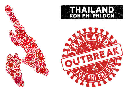 Pandemic mosaic Koh Phi Don map and red corroded stamp seal with OUTBREAK badge. Koh Phi Don map collage constructed with randomized contagion items.