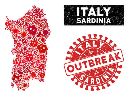 Epidemic mosaic Italian Sardinia Island map and red grunge stamp seal with OUTBREAK message. Italian Sardinia Island map collage designed with random contagion icons.