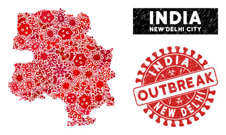 Outbreak mosaic New Delhi City map and red corroded stamp watermark with OUTBREAK phrase. New Delhi City map collage formed with randomized bacterium items.