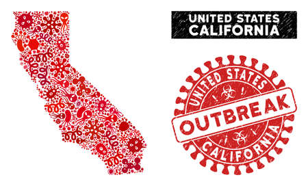 Contagion collage California map and red grunge stamp seal with OUTBREAK phrase. California map collage formed with scattered bacillus items. Red rounded OUTBREAK seal stamp with grunge texture.