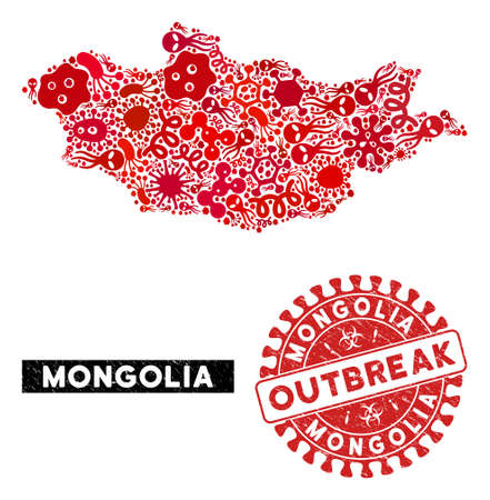 Contagion collage Mongolia map and red grunge stamp seal with OUTBREAK phrase. Mongolia map collage constructed with scattered contagious elements. Red round OUTBREAK seal stamp with grunge texture.