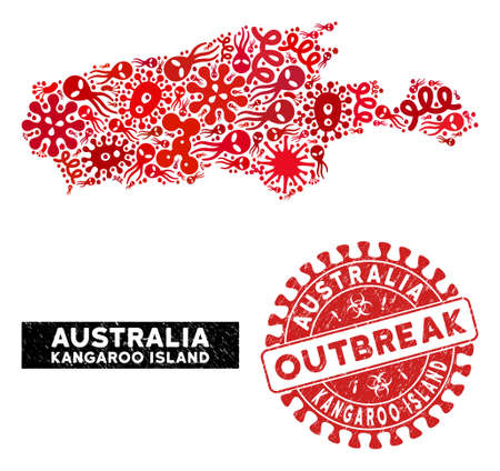 Outbreak collage Kangaroo Island map and red rubber stamp seal with OUTBREAK words. Kangaroo Island map collage formed with random microbe symbols. Red round OUTBREAK seal with scratched texture.  イラスト・ベクター素材