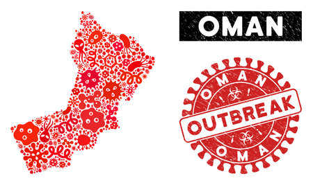 Biohazard collage Oman map and red distressed stamp seal with OUTBREAK message. Oman map collage composed with random infection symbols. Red rounded OUTBREAK watermark with grunge texture.