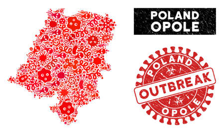 Infection mosaic Opole Voivodeship map and red rubber stamp watermark with OUTBREAK message. Opole Voivodeship map collage constructed with random bacterium elements.