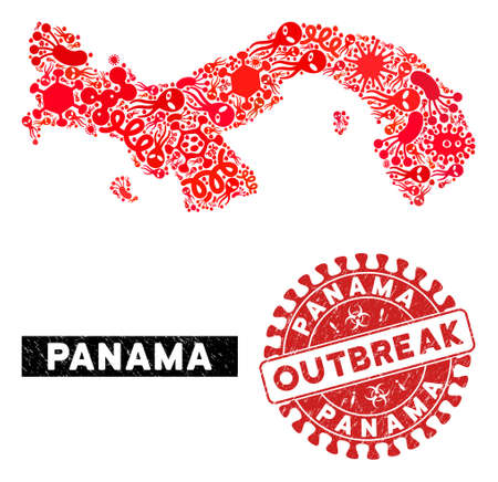 Fever collage Panama map and red distressed stamp seal with OUTBREAK words. Panama map collage created with random microbe cell elements. Red round OUTBREAK seal stamp with unclean texture.  イラスト・ベクター素材