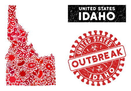 Pathogen collage Idaho State map and red corroded stamp seal with OUTBREAK words. Idaho State map collage constructed with scattered bacterium icons. Illustration