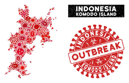 Pathogen mosaic Komodo Island map and red grunge stamp watermark with OUTBREAK text. Komodo Island map collage composed with scattered epidemic elements.