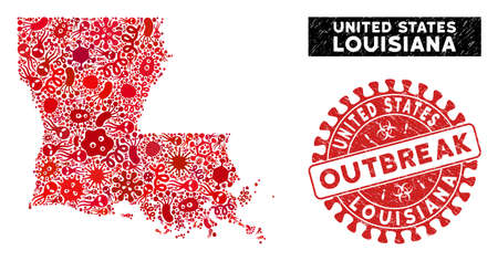 Outbreak collage Louisiana State map and red distressed stamp watermark with OUTBREAK message. Louisiana State map collage composed with random microbe items. Illustration