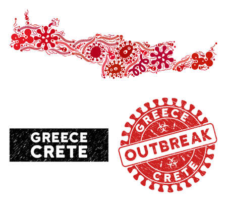 Virus collage Crete Island map and red grunge stamp watermark with OUTBREAK badge. Crete Island map collage formed with scattered bacterium elements. Red round OUTBREAK seal with grunge texture.