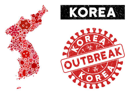 Contagion collage Korea map and red grunge stamp seal with OUTBREAK message. Korea map collage constructed with randomized contagion symbols. Red round OUTBREAK seal with unclean texture. Vetores