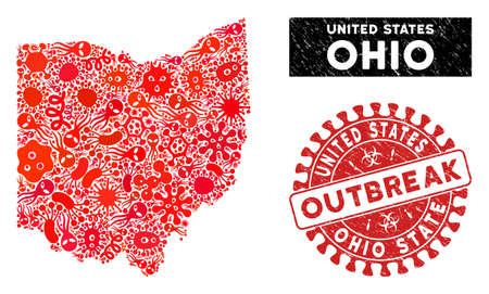 Virus collage Ohio State map and red grunge stamp watermark with OUTBREAK message. Ohio State map collage composed with scattered contagion icons. Red round OUTBREAK stamp with grunge texture.
