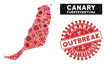 Flu collage Fuerteventura Island map and red corroded stamp watermark with OUTBREAK badge. Fuerteventura Island map collage created with randomized pandemic items. Illusztráció