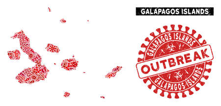 Microbe collage Galapagos Islands map and red distressed stamp seal with OUTBREAK words. Galapagos Islands map collage composed with scattered epidemic icons.