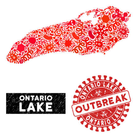 Fever collage Ontario Lake map and red grunge stamp watermark with OUTBREAK phrase. Ontario Lake map collage constructed with randomized epidemic elements. 일러스트