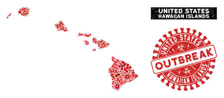 Virus mosaic Hawaiian Islands map and red grunge stamp seal with OUTBREAK badge. Hawaiian Islands map collage constructed with random virus elements. Red rounded OUTBREAK seal with scratched texture.