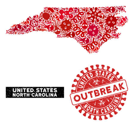 Viral collage North Carolina State map and red rubber stamp watermark with OUTBREAK phrase. North Carolina State map collage constructed with scattered virus elements.