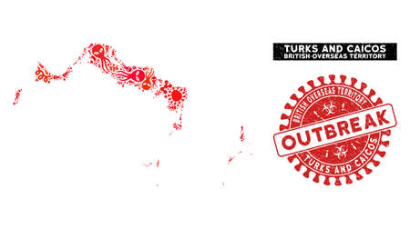 Pathogen collage Turks and Caicos Islands map and red grunge stamp seal with OUTBREAK badge. Turks and Caicos Islands map collage formed with randomized infectious elements.