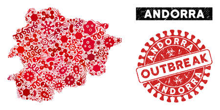 Viral mosaic Andorra map and red grunge stamp seal with OUTBREAK phrase. Andorra map collage constructed with scattered bacterium elements. Red rounded OUTBREAK seal stamp with unclean texture. Illustration