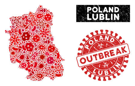 Infection collage Lublin Voivodeship map and red corroded stamp watermark with OUTBREAK caption. Lublin Voivodeship map collage designed with randomized microbe cell items. Illusztráció