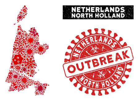 Viral mosaic North Holland map and red grunge stamp seal with OUTBREAK phrase. North Holland map collage created with scattered flu symbols. Red round OUTBREAK seal stamp with grunge texture.