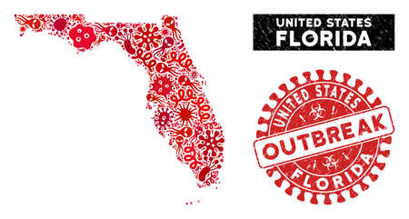 Infection collage Florida map and red corroded stamp seal with OUTBREAK caption. Florida map collage designed with scattered infection icons. Red round OUTBREAK stamp with distress texture.