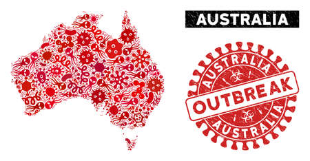 Pathogen mosaic Australia map and red distressed stamp seal with OUTBREAK caption. Australia map collage created with random pathogen icons. Red rounded OUTBREAK seal stamp with scratched texture.