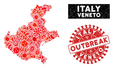 Microbe collage Veneto region map and red rubber stamp seal with OUTBREAK caption. Veneto region map collage created with random virus icons. Red rounded OUTBREAK seal stamp with scratched texture.