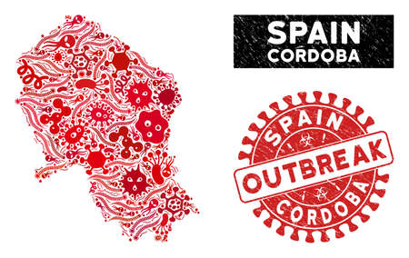 Flu collage Cordoba Spanish Province map and red distressed stamp watermark with OUTBREAK caption. Cordoba Spanish Province map collage composed with randomized flu icons.